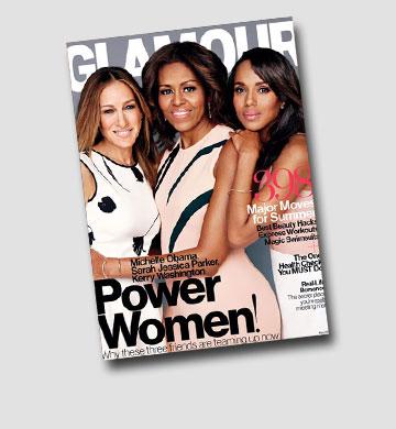 מתכוננת ליום שאחרי הבית הלבן. מישל אובמה עם שרה ג'סיקה פרקר וקרי וושינגטון על שער מגזין גלאמור (צילום: gettyimages)