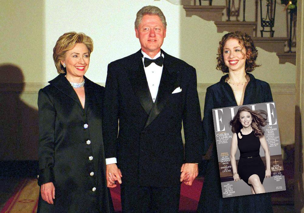 צ'לסי קלינטון עם הוריה ביל והילרי קלינטון בבית הלבן בשנת 2000, ועל שער גיליון מאי 2015 של מגזין ELLE (צילום: gettyimages)