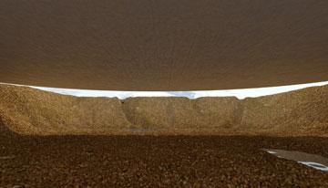 הדמיה של הבור, שיסמל את מקום קבורתם של הנספים (באדיבות אוקא אדריכלים-אורית וילנברג גלעדי וקרן ידווב)