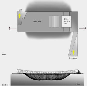 תוכנית המבנה (למעלה) וחתך שלו (באדיבות אוקא אדריכלים-אורית וילנברג גלעדי וקרן ידווב)