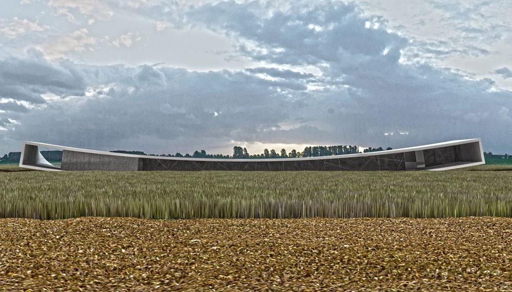 המבנה החדש יהיה המקום המקורה היחיד באתר, וניתן יהיה לקיים בו הרצאות וטקסים (באדיבות אוקא אדריכלים-אורית וילנברג גלעדי וקרן ידווב)