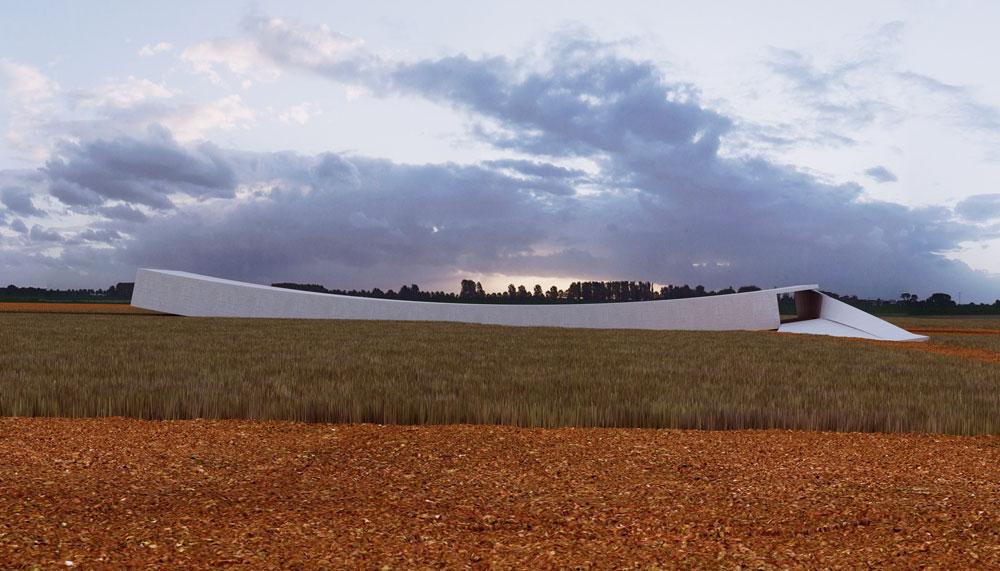 הדמיה של הבניין החדש שמתוכנן לקום בטרבלינקה. האדריכליות החליטו על מבנה מינימליסטי וסמלי, שיורכב משני אלמנטים - בור וקשת (באדיבות אוקא אדריכלים-אורית וילנברג גלעדי וקרן ידווב)