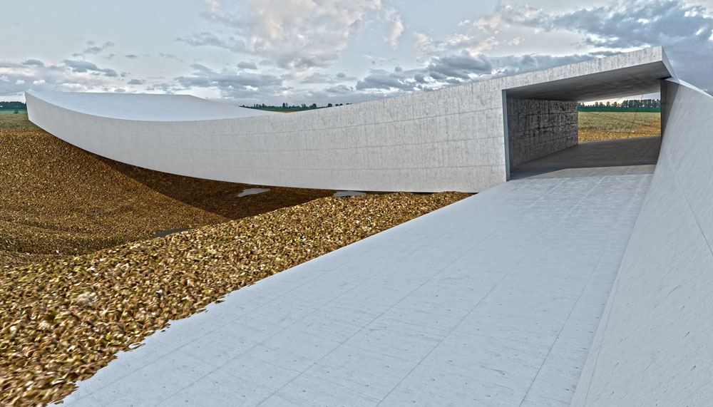 כך אמורה להיראות הכניסה למבנה החדש: מהשביל אפשר יהיה להיכנס גם לאולם ההתכנסות וגם לבור, שמסמל את מקום קבורתם של הנספים (באדיבות אוקא אדריכלים-אורית וילנברג גלעדי וקרן ידווב)