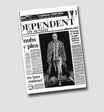 """בעמוד הראשון: קולקציית Sleep של קום דה גרסון על שער """"האינדיפנדנט"""" בשנת 1995"""