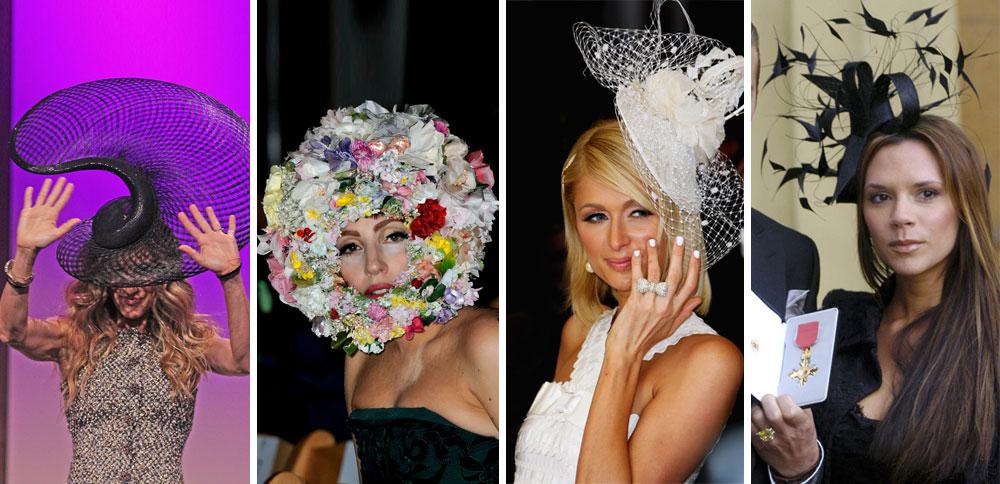 """""""כדאי להתחיל עם כובע פשוט והכי חשוב זה להבין שהאנשים שמסתכלים עליך לא מבקרים אותך, אלא רק מקנאים בך"""". ויקטוריה בקהאם, פריס הילטון, ליידי גאגא ושרה ג'סיקה פרקר חובשות יצירות של פיליפ טרייסי (צילום: rex/asap creative, gettyimages)"""