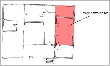 בוורוד מסומן שטח הבית המקורי: שני חדרים לשבע נפשות. החלקים שנוספו עם השנים נבנו במענה לצרכים, ללא חשיבה תכנונית או אסתטית (צילום: רותם גיא Workshop)