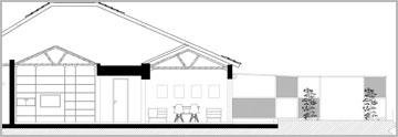 חתך שמראה את מבנה הגג. החלל שמעל הסלון נחשף בשיפוץ (צילום: רותם גיא Workshop)