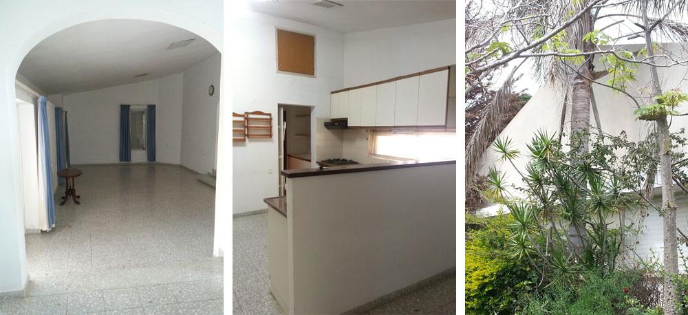 """הבית """"לפני"""": הצמחייה הבוגרת בחצר גדלה פרא, המטבח המיושן הופרד מפינת האוכל בחצי קיר, והסלון הופרד מהם בקיר עם פתח מקושת"""