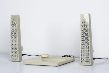 פרויקט הגמר של תדהר בשנקר: רמקולים עם אלמנטים מוסלמיים (צילום: באדיבות עמותת לצאת מהקופסא)