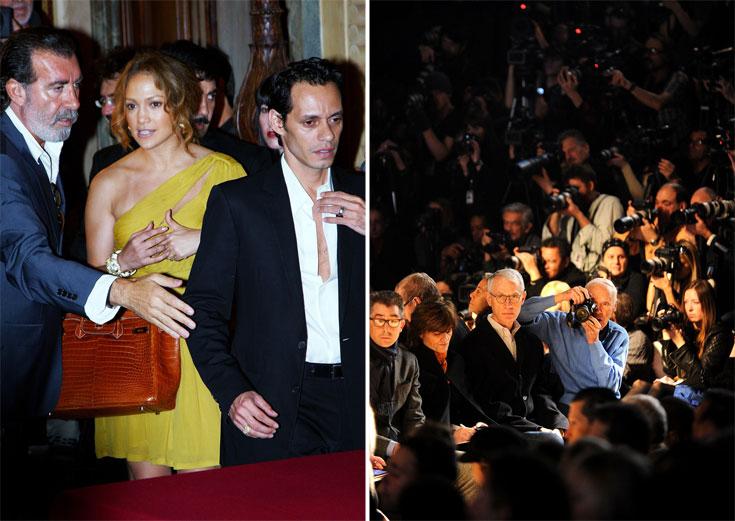 ביל קנינגהם מצלם בתצוגה של מייקל קורס בשבוע האופנה האחרון בניו יורק (מימין) וג'ניפר לופז מגיעה לשטיח האדום עם תיק של הרמס (צילום: gettyimages)