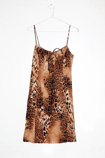 שמלת מיני בהדפס נמר. ''חלק מבוכטה של בגדים מנומרים שיש לי בארון'' (צילום: ענבל מרמרי)