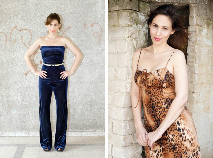 זהר וגנר בשמלת מיני מנומרת שרכשה מתמר קרוון (מימין) ובאוברול שקנתה בניו יורק בשנת 1990. ''בישראל יש תפישה שמרנית מאוד כלפי לבוש'' (צילום: ענבל מרמרי)