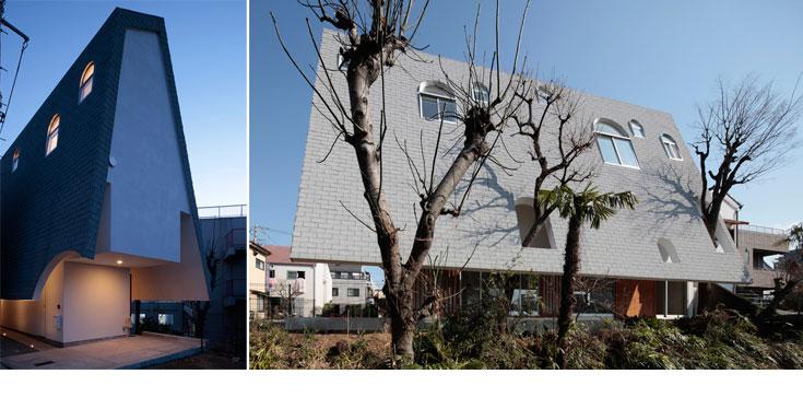 מאחר שהמגרש צר וארוך, נוצר פער משמעותי בין אורכי החזיתות (צילום: Koichi Torimura)