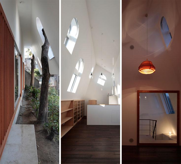 הבית עם הגג המשופע, שתיכנן משרד ON design בטוקיו. האור הטבעי חודר דרך החלונות המקושתים, וחורים בגג מאפשרים לעצים לגדול (צילום: Koichi Torimura)
