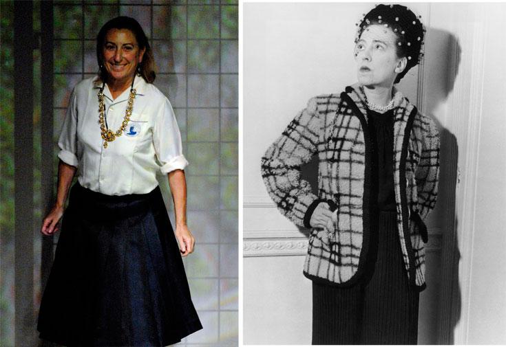 אלזה סקיאפרלי (מימין) ומיוצ'ה פראדה. חברות הפנתיאון של עולם האופנה (צילום: gettyimages)