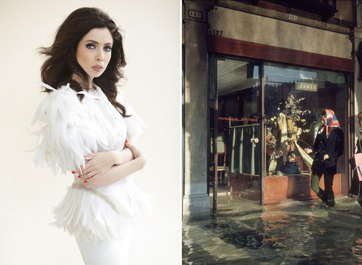 חנות של הרמס בוונציה בשנות ה-60  (מימין) והמעושרת ניקול ראידמן. האם היא תזכה לפתוח את החנות הראשונה של המותג בישראל? (צילום: gettyimages, אלכס ליפקין)