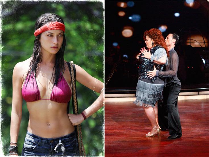 אסתי זקהיים והרקדן בוריס זלצמן ב''רוקדים עם כוכבים'' (מימין) ואנה ארונוב ב''הישרדות VIP''. שתי תוכניות בידור שבמרכזן סלבריטאים, תחרות ותשוקה (צילום: טל גבעוני, ורד אדיר)