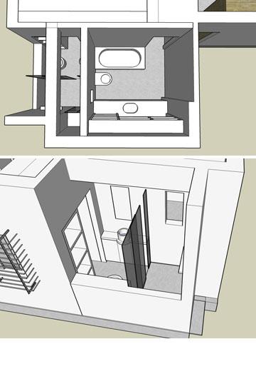 למעלה: הדמיה של שני חדרי הרחצה הצמודים. למטה ניתן לראות את הדלת למקלחת ההורים, שעוברת בארון חדר השינה (באדיבות מיקי בן גן)