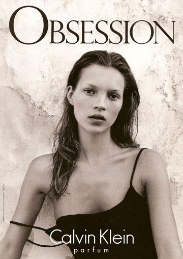 קייט מוס בקמפיין לקלווין קליין בשנות ה-90. לגרפלד טוען כי מודל הרזון אינו עניין חדש