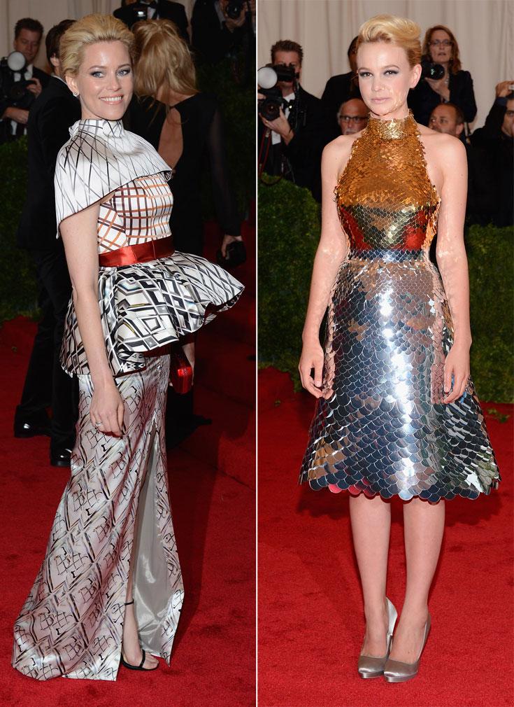 קארי מאליגן נוצצת בשמלת קשקשים (מימין) ואליזבת בנקס מאכזבת בתלבושת עמוסה ומקושקשת (צילום: gettyimages)