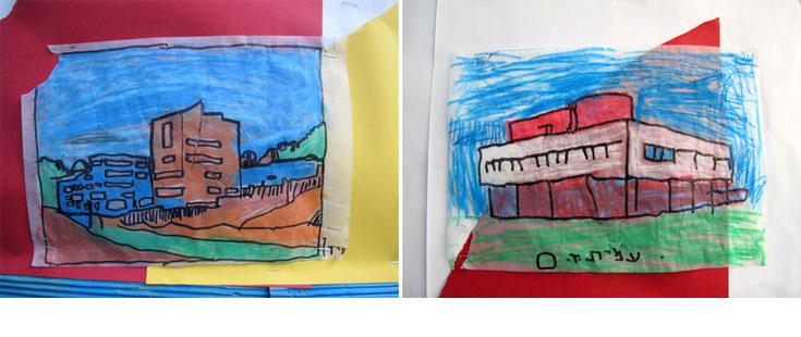 מתוך תערוכה של התלמידים: ציורי מבנים מפורסמים בעולם (צילום: מיכאל יעקובסון)