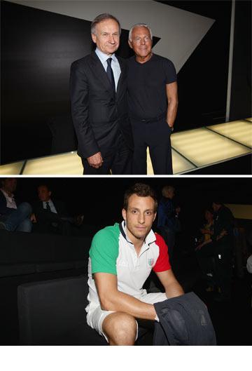 ג'ורג'יו ארמאני (למעלה) ומדי נבחרת איטליה. תלבושת סולידית (צילום: gettyimages)