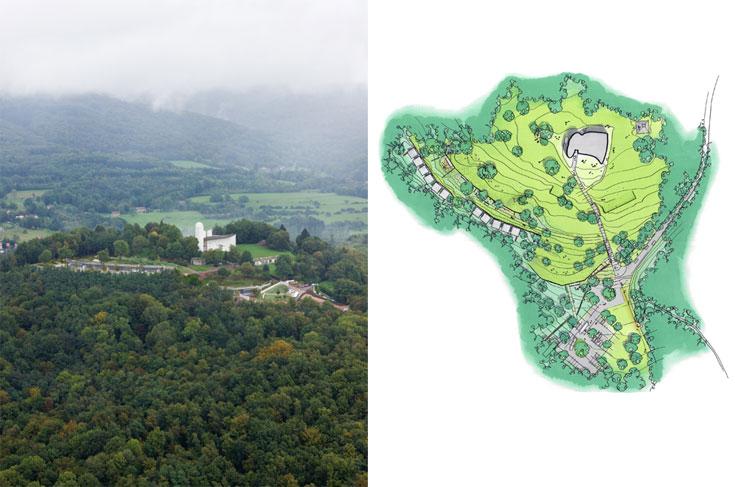 אתר הכנסייה הישנה והמנזר החדש, על גבעה המשקיפה לנוף נרחב