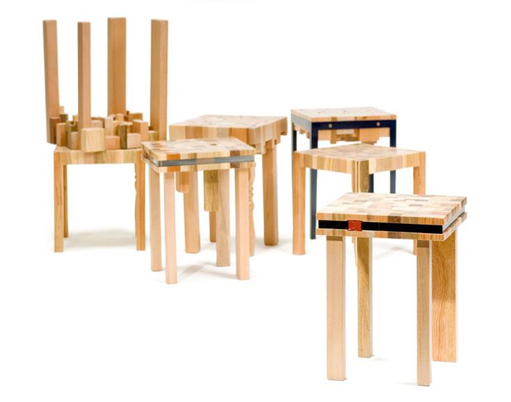 סדרת Stump של סטודיו יוביקו. פסולת של נגריות, שנמצאה במכולות אשפה בסביבת הסטודיו, הפכה לסדרת רהיטים (צילום: שחר תמיר)