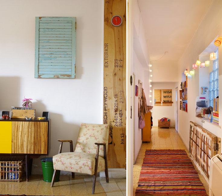 המקום: דירה שכורה ביפו. מטראז': 140 מ''ר, כולל מרפסת. עיצוב ונגרות: אמיר רווה ואפרת קאופמן, בני הזוג שחיים בדירה. דלת הכניסה נפתחת אל המסדרון, שמדגים את דרך העבודה של רווה, שמאמין בחיים חדשים לפריטים ישנים שנזרקו ולאריזות של חומרי גלם. ''כשרואים את הפריטים האלה אצלי ב'נגריא' מתלהבים, אבל חושבים שאין איפה לשים את זה. אצלנו בדירה אנחנו מוכיחים שיש'' (צילום: אסף פינצ'וק, אמיר רווה)