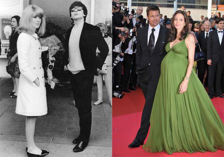 בראד פיט, אנג'לינה ג'ולי והבטן בפסטיבל קאן 2008 (מימין) ודיוויד ביילי וקתרין דנב על השטיח האדום ב-1966. הזוגות הנוצצים של הפסטיבל (צילום: gettyimages)