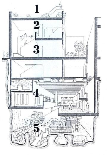 חתך פרספקטיבי של בית זיבנברג: החצי התחתון משמש כמרכז מבקרים ואתר חפירות, החצי העליון בית מגורים ועל הגג מרפסת תצפית (באדיבות יער אדריכלים)