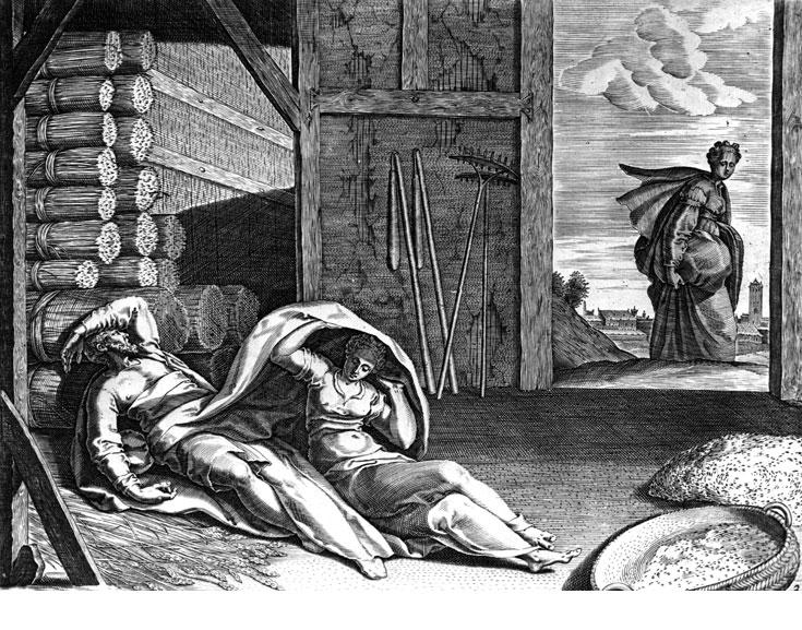 רות ובועז בתחריט מהמאה ה-16 שימו לב לקערת החומוס שבצד ימין (לא, זו לא חיטה. זה חומוס! חומוס!) (צילום: gettyimages)