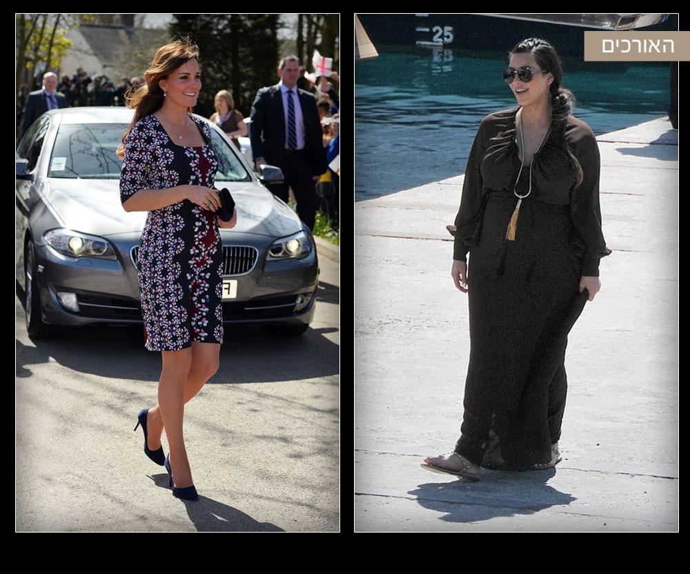 קים קרדשיאן בשמלת מקסי רחבה (מימין) וקייט מידלטון בשמלת מיני העשויה משי מודפס. מה למדנו: הסוד בהריון הוא להבליט את החלקים בגוף שעדיין נראים טוב ולטשטש את אלו שצריך להסתיר. במקרה של קרדשיאן, שמלת האוברסייז אומנם משדרת נינוחות לא טיפוסית, אבל הררי הבד מעניקים מראה רחב ולא מחמיא. מידלטון, לעומתה, חושפת את הרגליים שנשארו רזות ומעלימה את הבטן המתעגלת (צילום: rex/asap creative ו gettyimages)