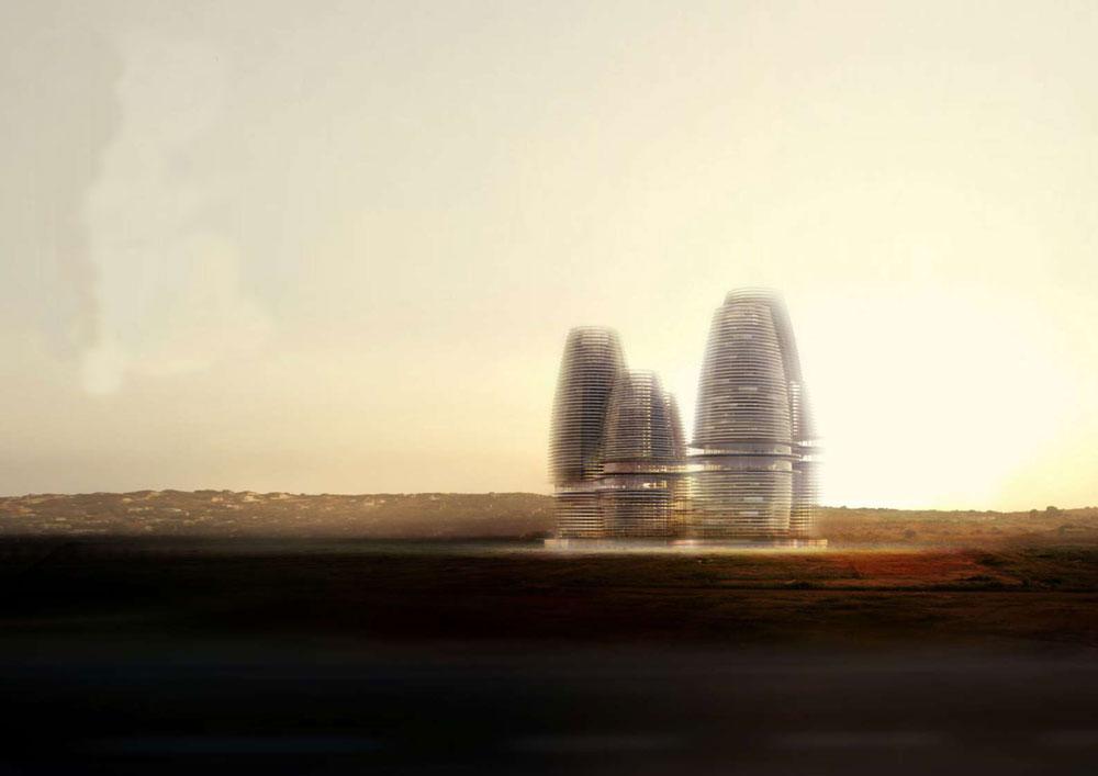 היוזמה היומרנית הזו, שכוללת אשכול גורדי שחקים ובהם הגבוה ביותר ביבשת (75 קומות), עולה 10 מיליארד דולר ואמורה להיחנך בעוד שלוש שנים (הדמיה: Research architects)