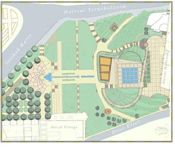 תוכנית פארק טדי. 7 דונם (הדמיה: שלום קוולר באדיבות ''קרן ירושלים'')