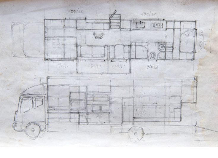 שרטוט ארגז המשאית. למעלה: החלוקה הפנימית. בקדמת המשאית פינת השינה, במרכז סלון, פינת עבודה מטבח וחדר רחצה, ובסוף - חדרון השינה של הבת (צילום רפרודוקציה: אילן נחום)