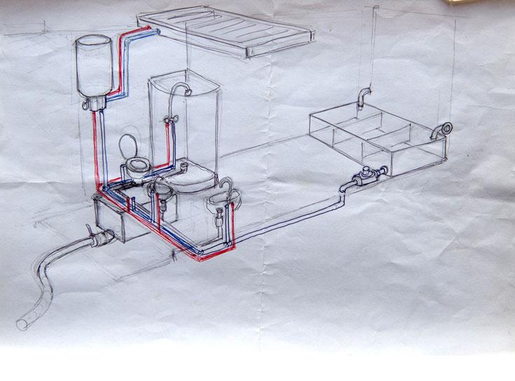 שרטוט מערכת האינסטלציה. המים מגיעים ממיכל של 800 ליטרים, שנמצא מתחת לפינת השינה. מי המקלחת וכיור המטבח משמשים להדחת האסלה בשירותים (צילום רפרודוקציה: אילן נחום)
