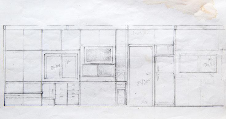 שרטוט אחד משני קירות הארונות הארוכים (צילום רפרודוקציה: אילן נחום)