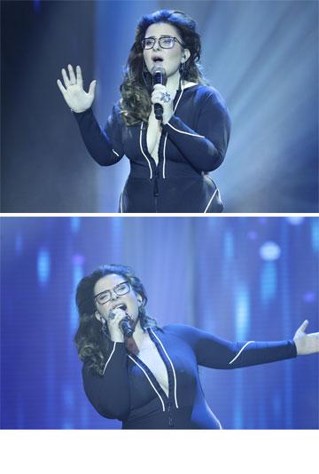 השמלה לא זכתה לביקורות אוהדות. מורן מזור בקדם אירוויזיון בישראל (צילום: רפי דלויה)