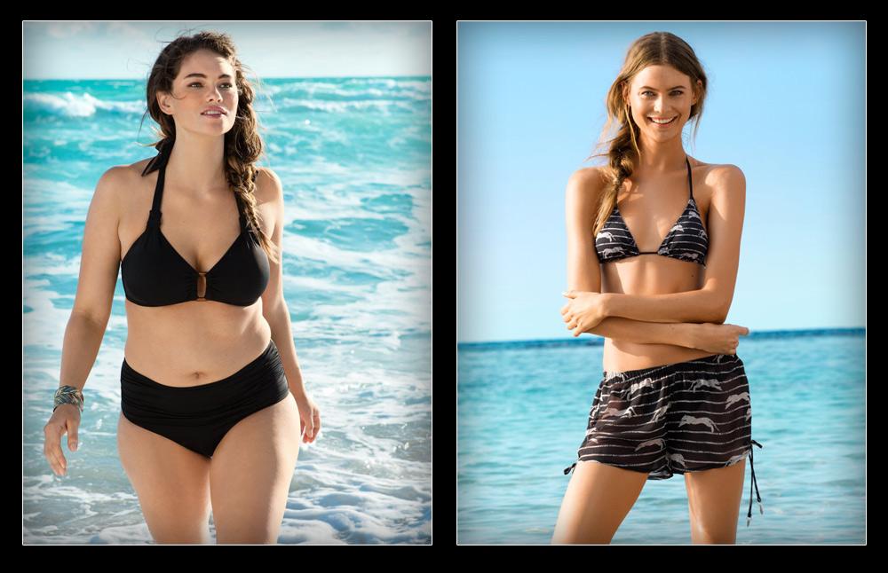 """קמפיין בגדי הים הרגיל של H&M (מימין) והתמונה של ג'ני ראנק בקמפיין המידות הגדולות. """"הדוגמנית המלאה, שנראית טבעית וזורמת, משדרת אמהות, בעוד שהדוגמנית הרזה ובעלת המראה המלאכותי מדי משדרת סקס"""", אומרת ריי שגב (צילום: הנס מוריץ)"""