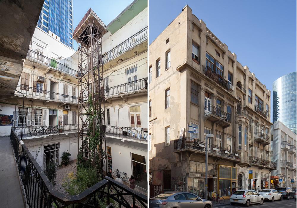 וכך נראה הבניין מבחוץ - ''בית המעלית'' ברחוב הרצל בדרום תל אביב: ישן ומתפורר, אך מלא אופי וחיים. הוא בנוי סביב חצר פנימית גדולה, שאליה פונים הפרוזדורים והמרפסות (צילום: טל ניסים)
