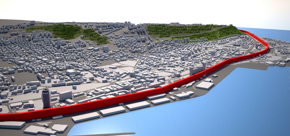 הסכנה היא שהעיר תופרד מהחוף במסילות מחושמלות, מה שיהרוס את המרקם העירוני ויפגע בנוף ובתיירות. אם יוקמו גם מגדלים בבת גלים, הנוף ישתנה פלאים (הדמיה: התנועה להחזרת העיר אל חיפה)