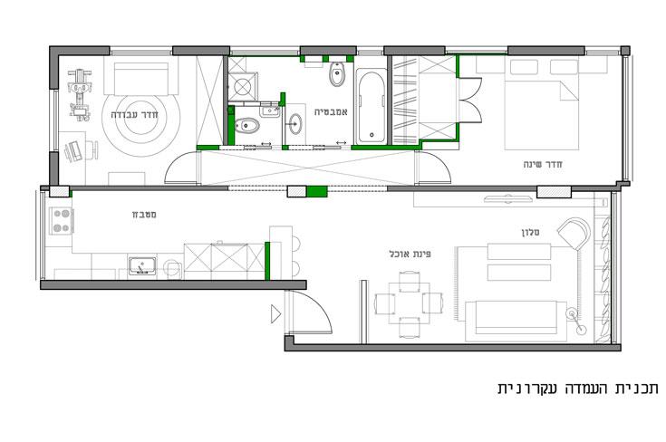 תוכנית הדירה, ''אחרי'': המבנה שונה בנגיעות קלות - מרפסות השירות ''הוכנסו'' פנימה, קיר המסדרון הוסר ברובו, חדר שירותים וחדר ארונות נוספו. הצבע הירוק מסמן את תוספות הבנייה הקטנות (באדיבות studio 37)