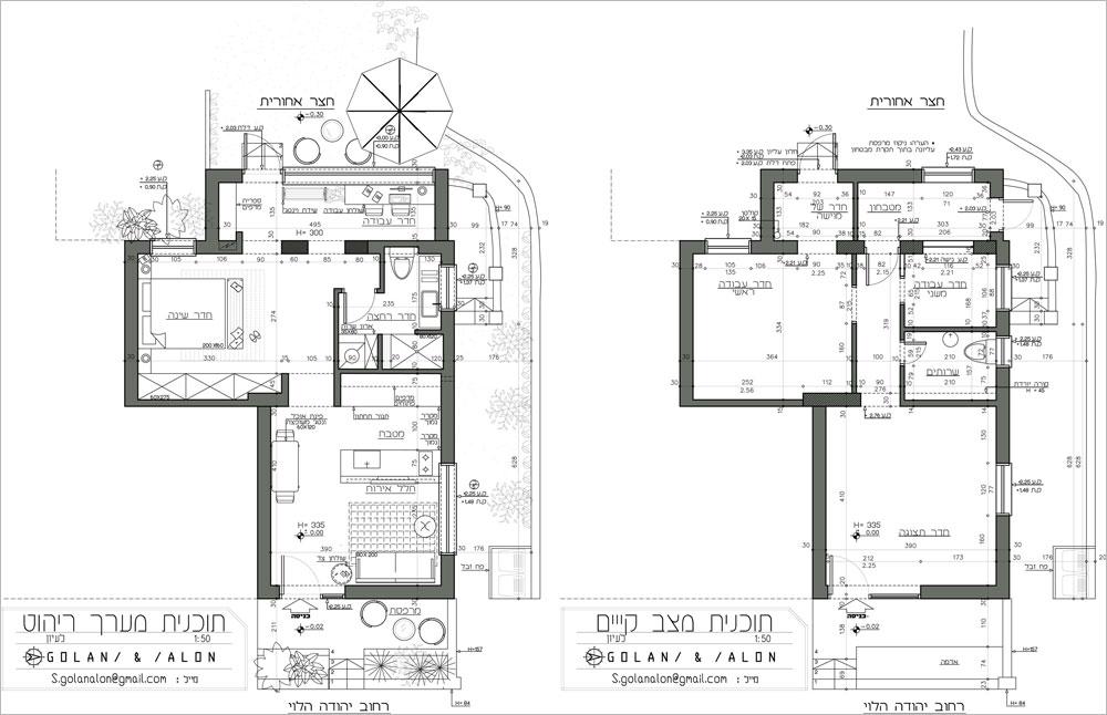 מימין: התוכנית המקורית של הדירה, שכללה חנות בחזית, שלושה חדרי עבודה, שירותים ומטבחון. משמאל: תוכנית הדירה אחרי השיפוץ. קיר החדר השינה הוסר ולמעט בחדר הרחצה, אין בדירה דלתות פנימיות (תכנון ועיצוב פנים : סטודיו GOLANALON)