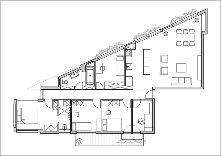 ו''אחרי'': המסדרון הארוך מחלק את הדירה לשניים (תכנון: אדריכלית עינת איכהולץ פורת ממשרד איכהולץ ענתבי אדריכלות)