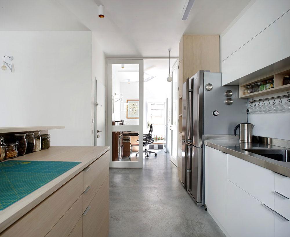 מימין לדלת הכניסה - המטבח. משמאלה - חדרון העבודה שנוסף בחלוקה המחודשת של הדירה. בינו לבין המסדרון מפרידות דלתות זכוכית, שמכניסות למטבח ולסלון אור מכיוון שלישי (צילום: עדי גלעד)