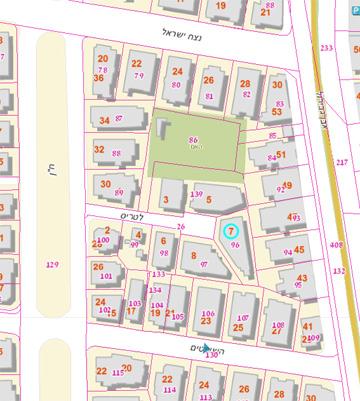 המגרש הטרפזי (מסומן בעיגול) בסוף רחוב לטריס, שיוצא משדרות ח''ן (מתוך גנזך עיריית תל אביב)