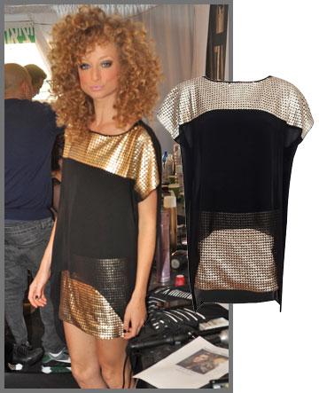 יוליה פלוטקין לובשת שמלה בשילוב שחור-זהב אלגנטי של אייס קיוב (449 שקל) (צילום: קובי נעים, שי נייבורג)
