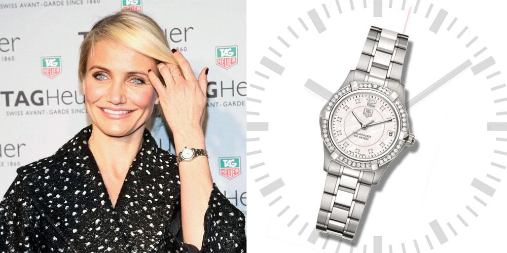 קמרון דיאז מדייקת עם שעון של TAG Heuer (מחיר: 27,999 שקל) (צילום: gettyimages)