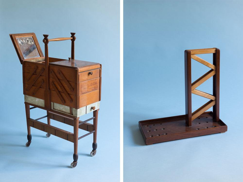 מימין: מסלול גולות לילדים. משמאל: קופסת התפירה של ביילה, עם מכסים מאוירים ורגליים על גלגלים (צילום: גדעון לוין)